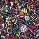 Άνευ ραφής σχέδιο μουσικής Disco doodles κινούμενων σχεδίων χαριτωμένο Στοκ Εικόνες