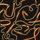 Άνευ ραφής σχέδιο μόδας με τις αλυσίδες και τις ζώνες ελεύθερη απεικόνιση δικαιώματος
