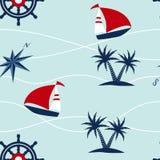 Άνευ ραφής σχέδιο ναυτικών πυξίδων πανιών βαρκών Στοκ φωτογραφία με δικαίωμα ελεύθερης χρήσης