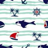 Άνευ ραφής σχέδιο ναυτικών φαλαινών πανιών βαρκών Στοκ εικόνες με δικαίωμα ελεύθερης χρήσης