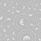 Άνευ ραφής σχέδιο νομισμάτων της Ευρωπαϊκής Ένωσης ευρο- ασημένιο ελεύθερη απεικόνιση δικαιώματος