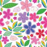 Άνευ ραφής σχέδιο ουράνιων τόξων φύλλων λουλουδιών κουνελιών ελεύθερη απεικόνιση δικαιώματος