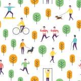 Άνευ ραφής σχέδιο πάρκων Διανυσματικοί άνθρωποι και αθλητισμός Στοκ Φωτογραφία