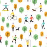 Άνευ ραφής σχέδιο πάρκων Διανυσματικοί άνθρωποι και αθλητισμός Στοκ Εικόνες