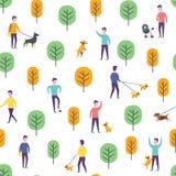 Άνευ ραφής σχέδιο πάρκων Διανυσματικοί περπατώντας άνθρωποι σκυλιών Στοκ Εικόνες