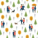 Άνευ ραφής σχέδιο πάρκων Διανυσματικοί περπατώντας άνθρωποι σκυλιών Στοκ φωτογραφία με δικαίωμα ελεύθερης χρήσης
