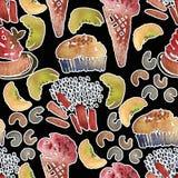 Άνευ ραφής σχέδιο παγωτού Συρμένη τυπωμένη ύλη θερινών παραλιών Watercolor χέρι με το γλειφιτζούρι πάγου και παγωτό σε ένα φλυτζά διανυσματική απεικόνιση