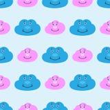 Άνευ ραφής σχέδιο παιδιών με τα χαριτωμένα σύννεφα χαμόγελου Αστεία τυπωμένη ύλη για τα παιδιά r διανυσματική απεικόνιση