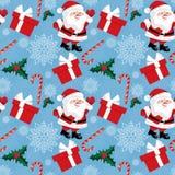 Άνευ ραφής σχέδιο περιόδου διακοπών Χριστουγέννων με Άγιο Βασίλη με τη νιφάδα χιονιού, τους καλάμους καραμελών, τα μούρα ελαιόπρι διανυσματική απεικόνιση
