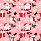 Άνευ ραφής σχέδιο περιόδου διακοπών Χριστουγέννων με Άγιο Βασίλη με τη νιφάδα χιονιού, το χιονάνθρωπο, τα μούρα ελαιόπρινου και τ διανυσματική απεικόνιση
