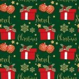 Άνευ ραφής σχέδιο περιόδου διακοπών Χριστουγέννων με Άγιο Βασίλη με τη νιφάδα χιονιού, το χιονάνθρωπο, τα μούρα ελαιόπρινου και τ απεικόνιση αποθεμάτων