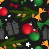 Άνευ ραφής σχέδιο περιόδου διακοπών Χριστουγέννων με τα στοιχεία Χριστουγέννων απεικόνιση αποθεμάτων