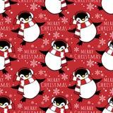 Άνευ ραφής σχέδιο περιόδου διακοπών Χριστουγέννων με τα χαριτωμένα κινούμενα σχέδια penguins στη χειμερινή συνήθεια ελεύθερη απεικόνιση δικαιώματος