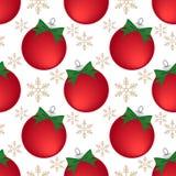Άνευ ραφής σχέδιο περιόδου διακοπών Χριστουγέννων με τη σφαίρα μπιχλιμπιδιών Χριστουγέννων διανυσματική απεικόνιση