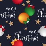Άνευ ραφής σχέδιο περιόδου διακοπών Χριστουγέννων με τη σφαίρα μπιχλιμπιδιών Χριστουγέννων, την κορδέλλα, το αστέρι και το κείμεν ελεύθερη απεικόνιση δικαιώματος