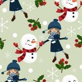 Άνευ ραφής σχέδιο περιόδου διακοπών Χριστουγέννων με το χαριτωμένο κορίτσι στη χειμερινή συνήθεια ελεύθερη απεικόνιση δικαιώματος