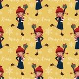 Άνευ ραφής σχέδιο περιόδου διακοπών Χριστουγέννων με το χαριτωμένο κορίτσι στη χειμερινή συνήθεια διανυσματική απεικόνιση