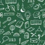 Άνευ ραφής σχέδιο πινάκων εκπαίδευσης doodles πράσινο Στοκ Φωτογραφία