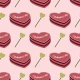 Άνευ ραφής σχέδιο που αποτελείται από το κέικ και τις καρδιές διανυσματική απεικόνιση