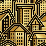 Άνευ ραφής σχέδιο πόλεων στο χρυσό ύφος στοκ φωτογραφία
