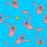 Άνευ ραφής σχέδιο πόλο νερού Οι αθλητές παίζουν τη σφαίρα στο νερό αθλητισμός διανυσματική απεικόνιση
