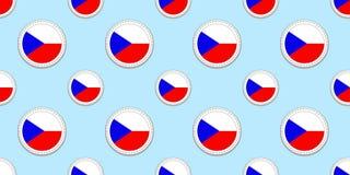 Άνευ ραφής σχέδιο σημαιών Δημοκρατίας της Τσεχίας Τσεχικό υπόβαθρο Διανυσματικά στρογγυλά εικονίδια Γεωμετρικά σύμβολα κύκλων Σύσ απεικόνιση αποθεμάτων