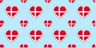 Άνευ ραφής σχέδιο σημαιών της Δανίας Διανυσματικά δανικά stikers σημαιών Σύμβολα καρδιών αγάπης Καλή επιλογή για τις πατριωτικές, διανυσματική απεικόνιση