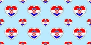 Άνευ ραφής σχέδιο σημαιών της Κροατίας Διανυσματικά κροατικά stikers σημαιών Σύμβολα καρδιών αγάπης Σύσταση για τα μαθήματα γλώσσ ελεύθερη απεικόνιση δικαιώματος
