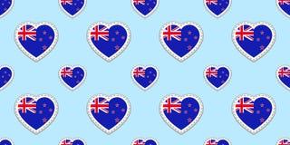 Άνευ ραφής σχέδιο σημαιών της Νέας Ζηλανδίας Διανυσματικά stikers σημαιών Σύμβολα καρδιών αγάπης Σύσταση για τα μαθήματα γλώσσας, απεικόνιση αποθεμάτων