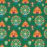 Άνευ ραφής σχέδιο σκηνών τσίρκων Στοκ Εικόνες