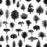 Άνευ ραφής σχέδιο σκιαγραφιών δασικών δέντρων Στοκ φωτογραφία με δικαίωμα ελεύθερης χρήσης