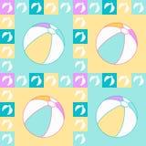 Άνευ ραφής σχέδιο στα χρώματα κρητιδογραφιών με τις απομονωμένες σφαίρες παραλιών στα τετράγωνα και το πλαίσιο Απεικόνιση αποθεμάτων