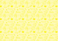 Άνευ ραφής σχέδιο στο εικονίδιο ύφους γραμμών με διάνυσμα θέματος παιχνιδιών μωρών το editable resizable πλήρως στο μαλακό κίτριν στοκ φωτογραφία με δικαίωμα ελεύθερης χρήσης