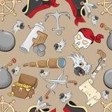 Άνευ ραφής σχέδιο στο θέμα του καφετιού υποβάθρου συμβόλων πειρατών ελεύθερη απεικόνιση δικαιώματος