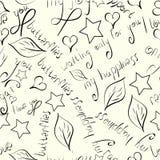 Άνευ ραφής σχέδιο συρμένων των χέρι μαύρων σκιαγραφιών των λουλουδιών, των φύλλων, των αστεριών και των φράσεων αγάπης στο μπεζ υ απεικόνιση αποθεμάτων
