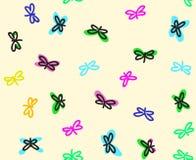 Άνευ ραφής σχέδιο σχεδίου πεταλούδων διανυσματικό για τα υφάσματα Απεικόνιση αποθεμάτων