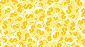 Άνευ ραφής σχέδιο σύστασης των χρυσών πορτοκαλιών κίτρινων χρημάτων νομισμάτων σιδήρου μετάλλων γύρω από τα αφηρημένα δολάρια εθν διανυσματική απεικόνιση
