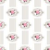 Άνευ ραφής σχέδιο ταπετσαριών με τα τριαντάφυλλα στο άσπρο υπόβαθρο ελεύθερη απεικόνιση δικαιώματος