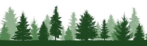 Άνευ ραφής σχέδιο της δασικής σκιαγραφίας δέντρων έλατου ελεύθερη απεικόνιση δικαιώματος