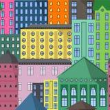 Άνευ ραφής σχέδιο της διανυσματικής απεικόνισης σπιτιών Στοκ Εικόνα