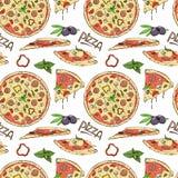 Άνευ ραφής σχέδιο της πίτσας και των συστατικών στο άσπρο υπόβαθρο στοκ εικόνες με δικαίωμα ελεύθερης χρήσης