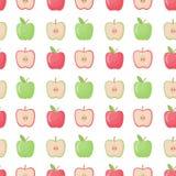 Άνευ ραφής σχέδιο της Apple, επίπεδη απεικόνιση σχεδίου Στοκ Εικόνες