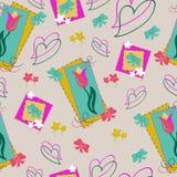 Άνευ ραφής σχέδιο τουλιπών και καρδιών με primroses και τα τόξα Floral υπόβαθρο άνοιξη στα χλωμά τρυφερά χρώματα, επίπεδο ύφος διανυσματική απεικόνιση