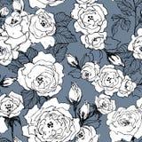 Άνευ ραφής σχέδιο του άγριου κλάδου ανθών τριαντάφυλλων που απομονώνεται στο μπλε Εκλεκτής ποιότητας βοτανική συρμένη χέρι απεικό ελεύθερη απεικόνιση δικαιώματος