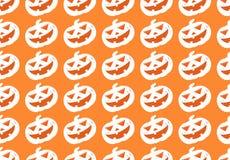 Άνευ ραφής σχέδιο του άσπρου εικονιδίου κολοκύθας αποκριών σειρών στο πορτοκαλί υπόβαθρο απεικόνιση αποθεμάτων