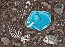 Άνευ ραφής σχέδιο του απολιθώματος Triceratops κινούμενων σχεδίων, μαμμούθ στον πάγο, τις αρχαίες ammonites φτέρες, το τριλοβίτη, ελεύθερη απεικόνιση δικαιώματος