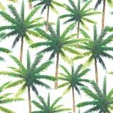 Άνευ ραφής σχέδιο του δέντρου καρύδων watercolor χρωμάτων χεριών, φυσική θερινή απεικόνιση για το κλωστοϋφαντουργικό προϊόν μόδας ελεύθερη απεικόνιση δικαιώματος