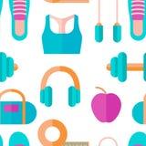 Άνευ ραφής σχέδιο του εξοπλισμού ικανότητας, υγιής τρόπος ζωής: ακουστικά, αλτήρας, πάνινα παπούτσια Διάνυσμα στο επίπεδο ύφος στοκ φωτογραφία με δικαίωμα ελεύθερης χρήσης