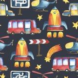 Άνευ ραφής σχέδιο του κίτρινος-μπλε αυτοκινήτου, κόκκινο λεωφορείο, πύραυλος, αστέρια διανυσματική απεικόνιση