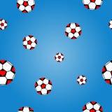 Άνευ ραφής σχέδιο του ποδοσφαίρου στο υπόβαθρο bule απεικόνιση αποθεμάτων